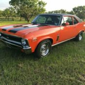 Chevrolet Nova Ss Clone Bbl Spd Ps Pb Ac Miles Orange Coupe on Chevy 383 Fuel Injected Crate Engine
