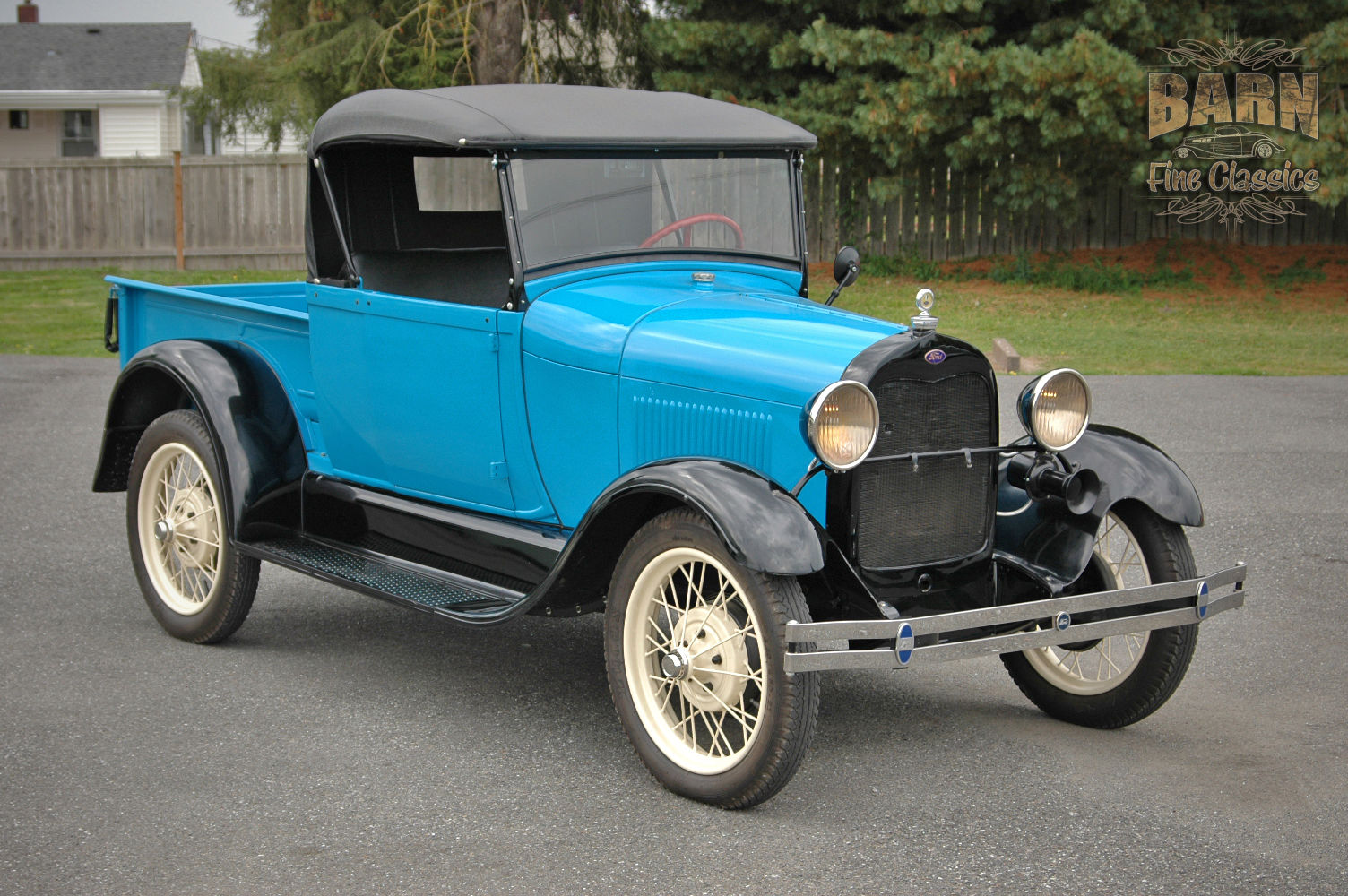 1928 Ford Model A Roadster Pickup Truck Drives Highway