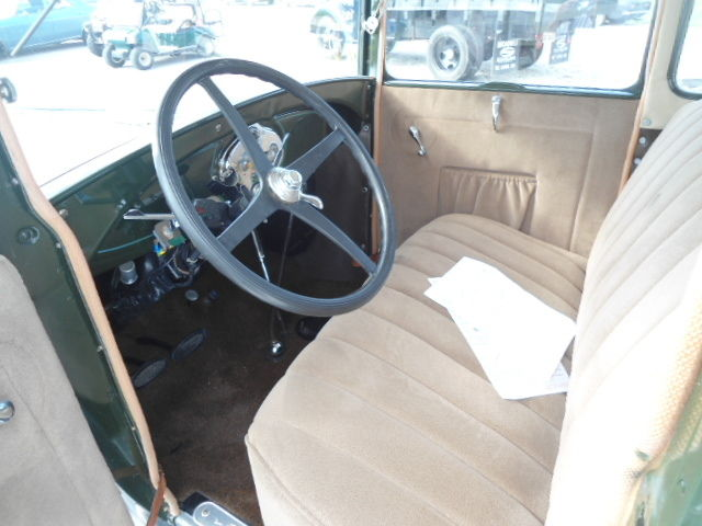 1929 ford model a coupe green restored new paint interior and top classic ford model a 1929. Black Bedroom Furniture Sets. Home Design Ideas