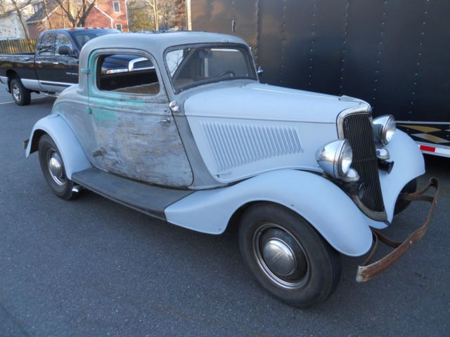 1934 ford 3 window coupe all steel,barn find,sleeper hot rod coupe ...
