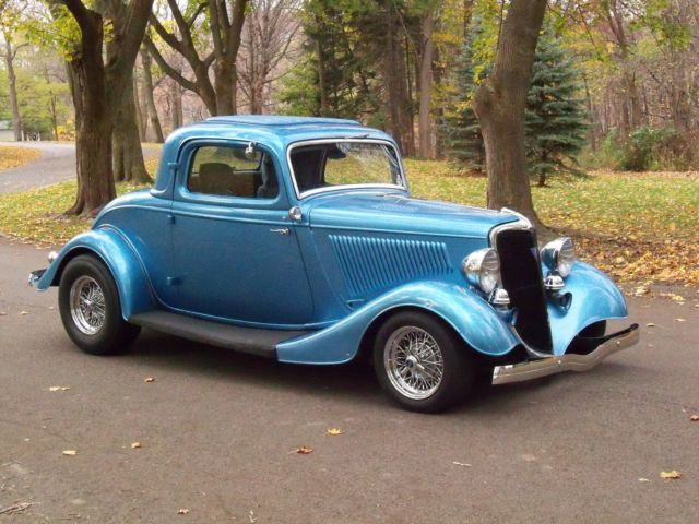 1934 henry ford steel nassau blue 3 window coupe streetrod for 1934 ford 3 window coupe steel body
