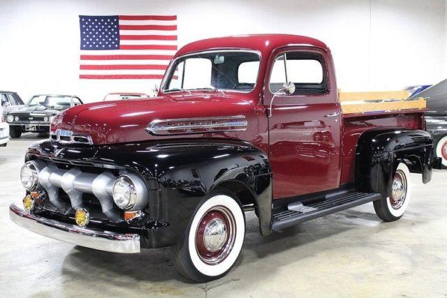1951 ford f1 53068 miles maroon black pickup truck 239. Black Bedroom Furniture Sets. Home Design Ideas
