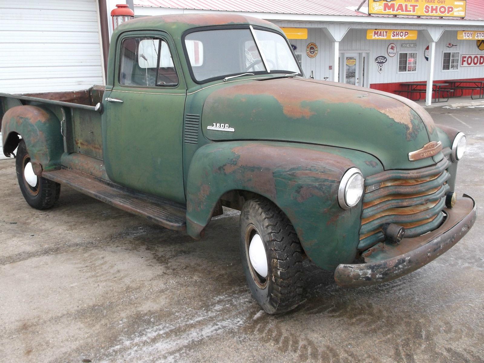 1953 chevy pickup truck 3800 model rare 9 foot box original farm truck rat rod classic. Black Bedroom Furniture Sets. Home Design Ideas