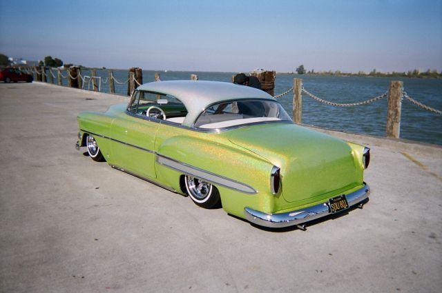 Chevy Bel Air Custom Hard Top Bagged Metal Flake on 1954 235 Chevy Engine Headers