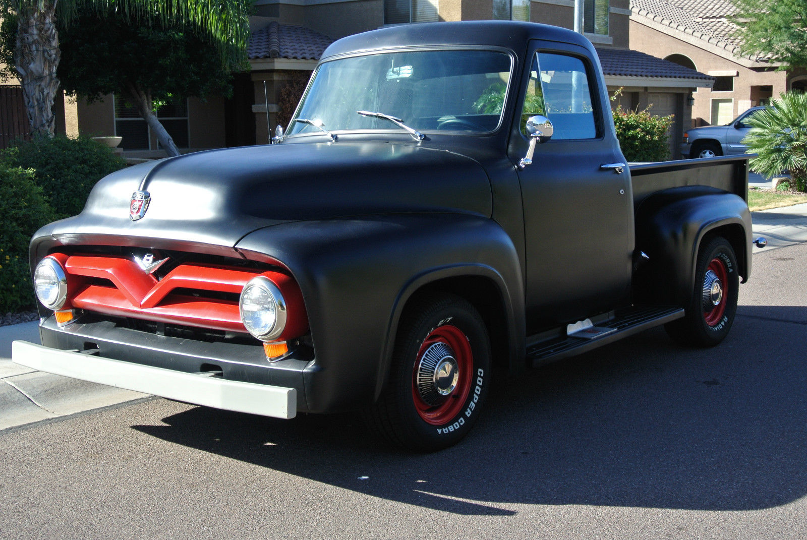 1954 ford f100 short bed black hotrod restomod f 100 f1. Black Bedroom Furniture Sets. Home Design Ideas