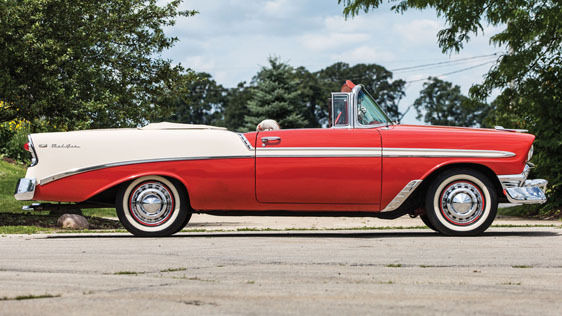 1956 chevrolet bel air convertible two tone matador red adobe beige 265 v 8 classic. Black Bedroom Furniture Sets. Home Design Ideas