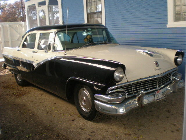 1956 ford fairlane four door automatic black white daily for 1956 ford fairlane 4 door hardtop