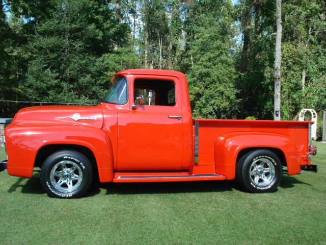 1956 Ford Truck Red Exterior Light Gray Interior Show