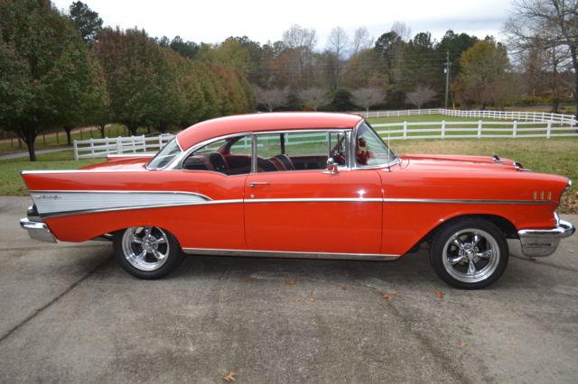 1957 57 chevrolet chevy bel air hard top mataror red hot