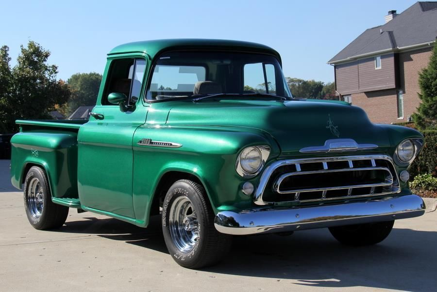 1957 Chevrolet Apache Pickup Green Custom Step Side - Classic Chevrolet Other Pickups 1957 for sale