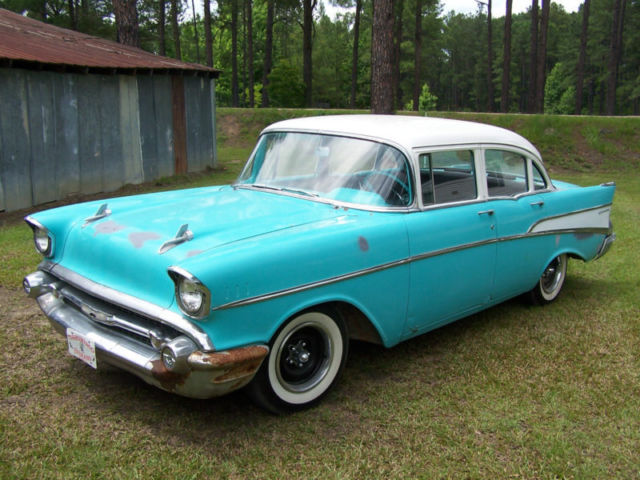 1957 chevrolet chevy bel air base sedan 210 4 door 3 8l for 1957 chevy 4 door sedan