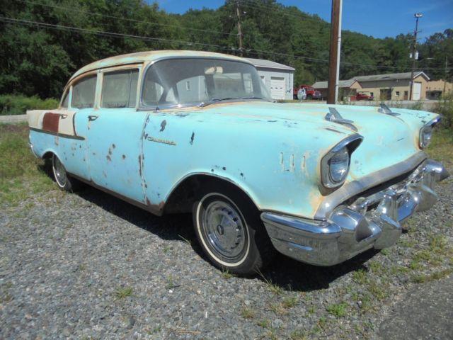 1957 CHEVY 150 4 DOOR SEDAN BARN FIND PARTS OR RESTORE