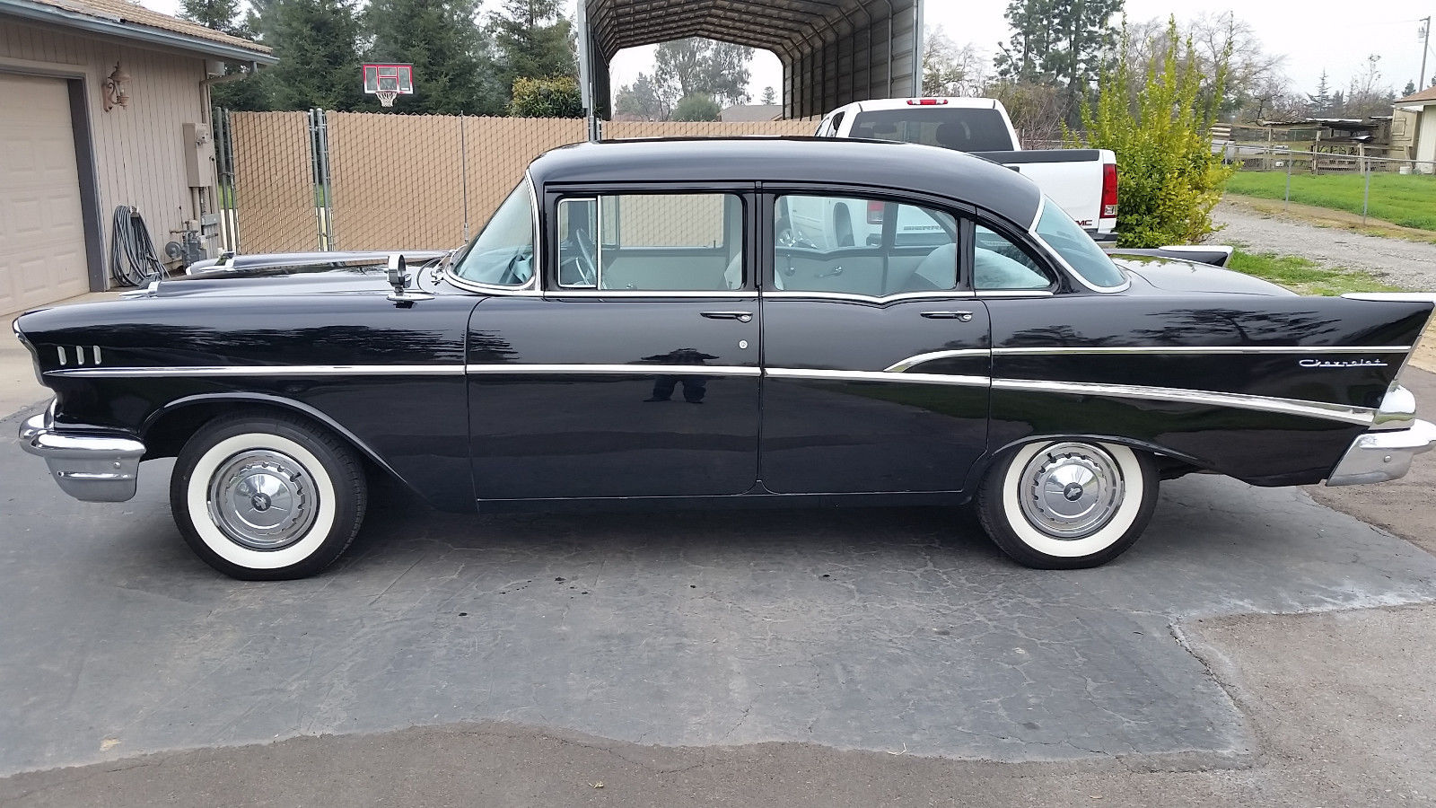 1957 chevy 210 classic car v8 engine black 4 door classic chevrolet bel air 150 210 1957 for sale. Black Bedroom Furniture Sets. Home Design Ideas