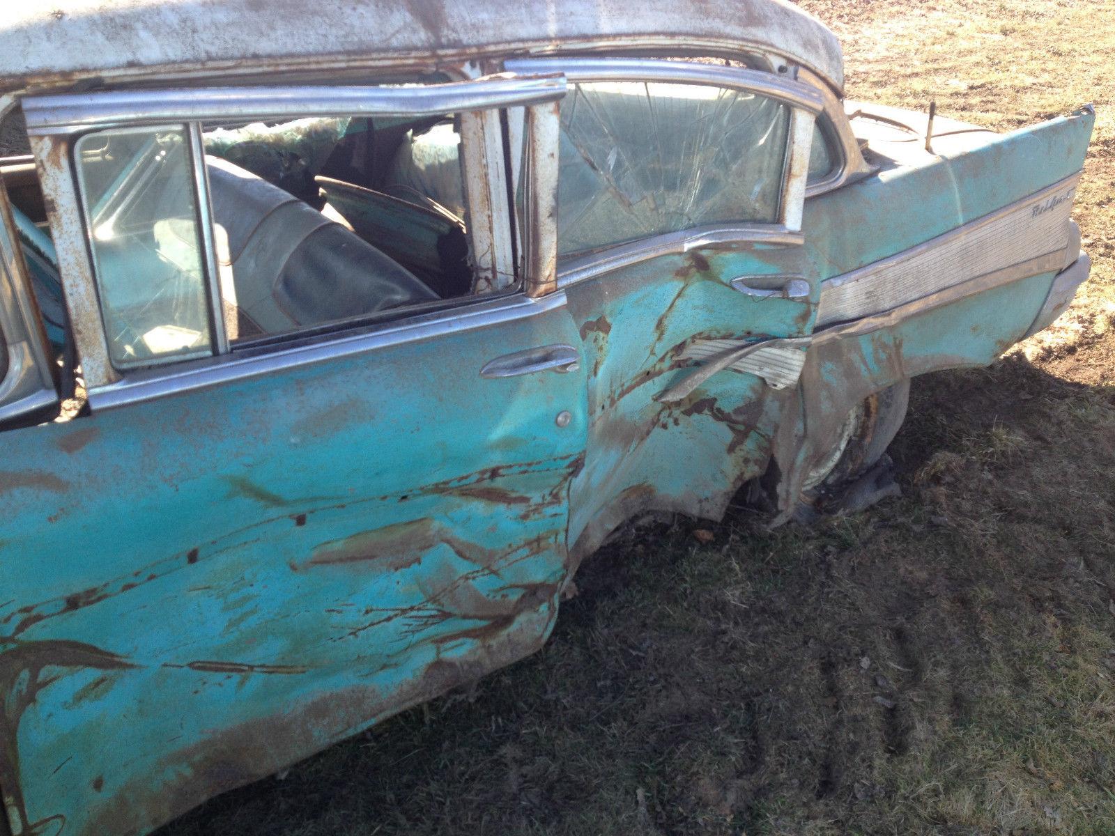 1957 Chevy Bel Air 4 door parts car hit on left side no