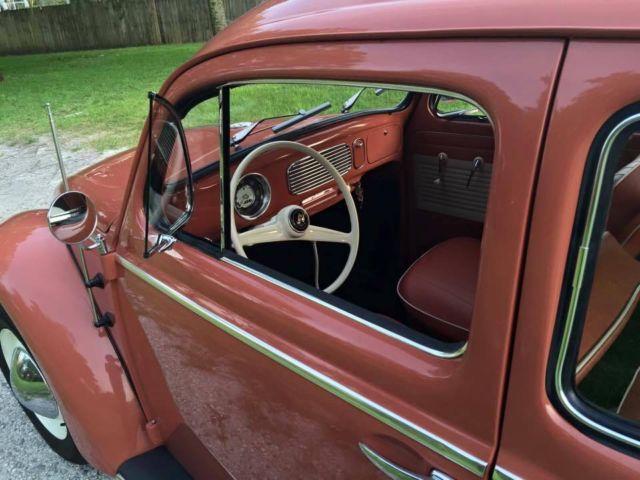 1957 Volkswagen Beetle Coral Red body off stunning restoration - Classic Volkswagen Beetle ...