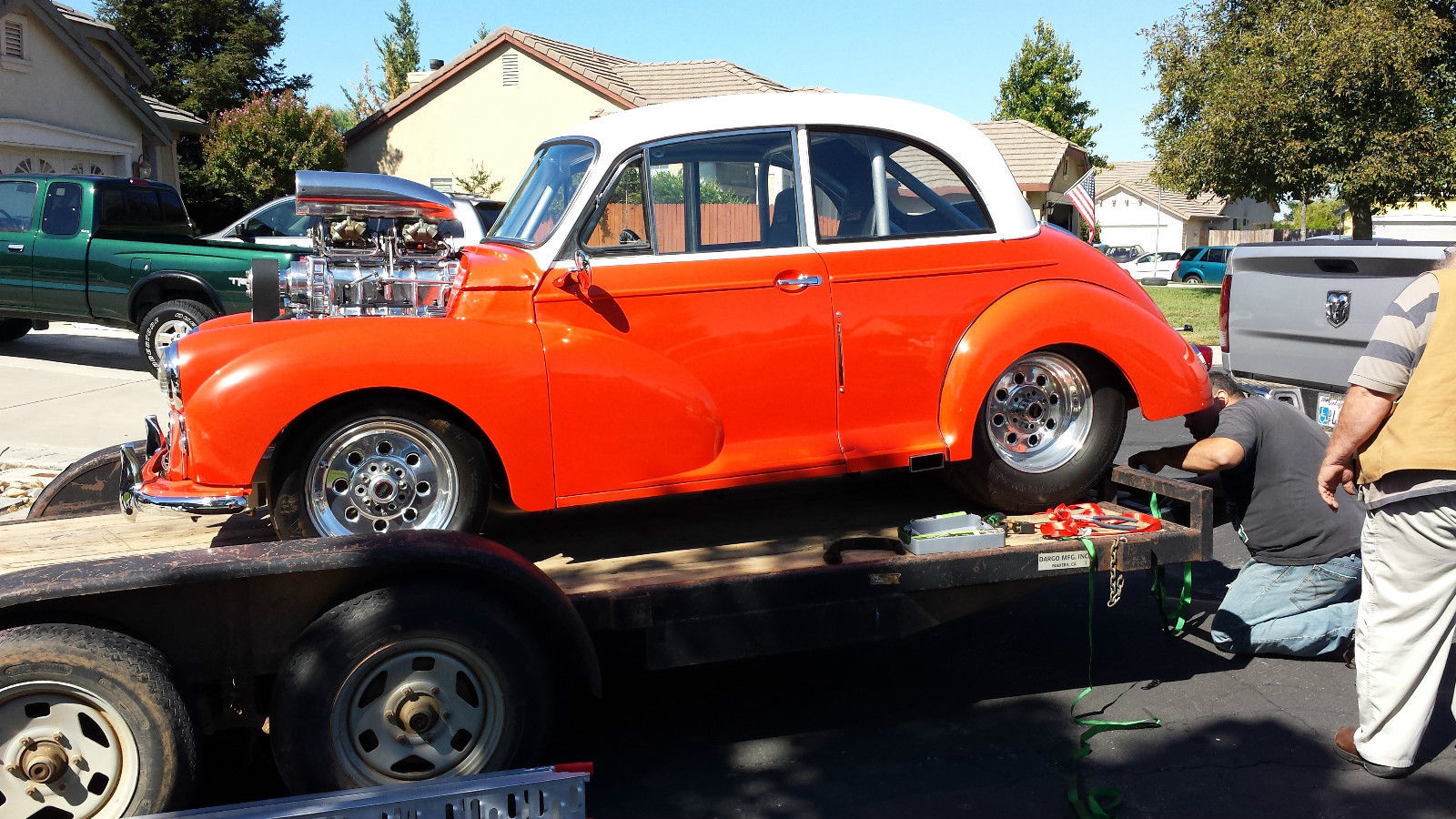1960 morris minor hot rod with 350 sbc with blower