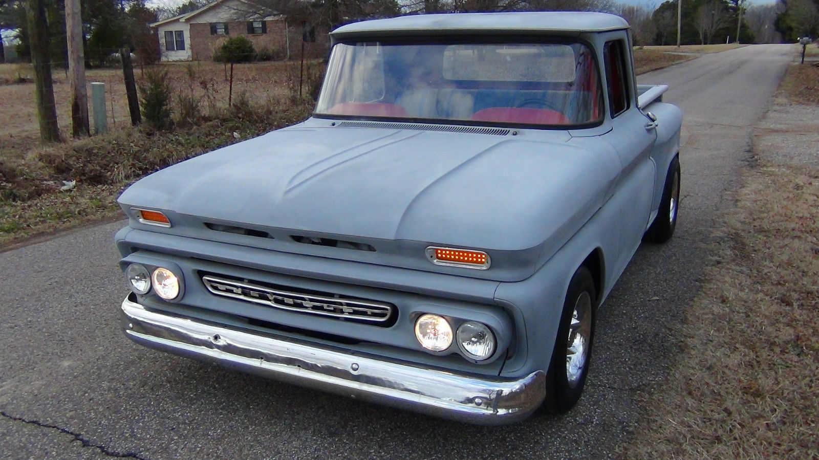 1961 Chevrolet Stepside Truck 350 Engine With 400 Automatic Lowered C10 Chevy 62 Hood
