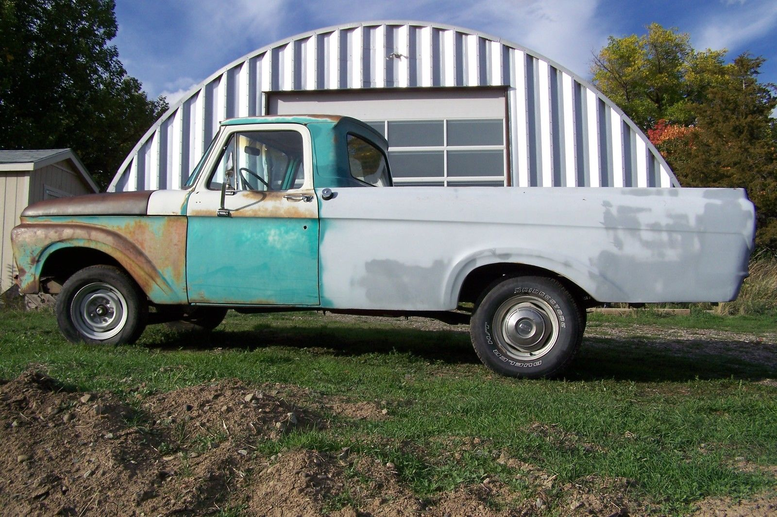 1961 Ford F100 Unibody Long Bed With Bumpers Good Glass 1963 Pick Up 1964 1965 1966