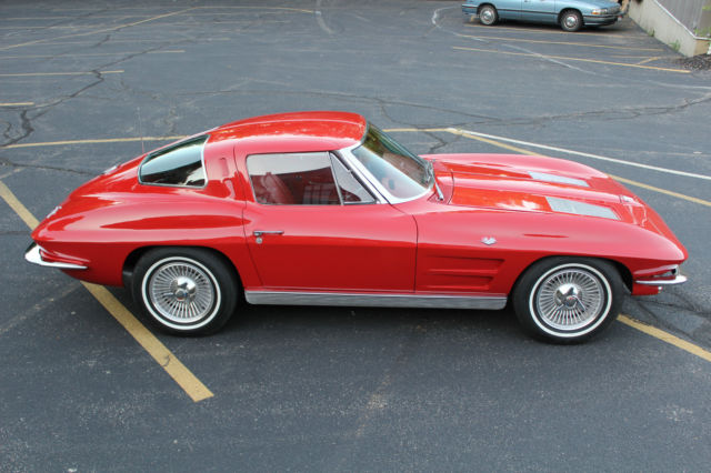 1963 corvette split window coupe red with red interior for 1963 chevy corvette split window for sale