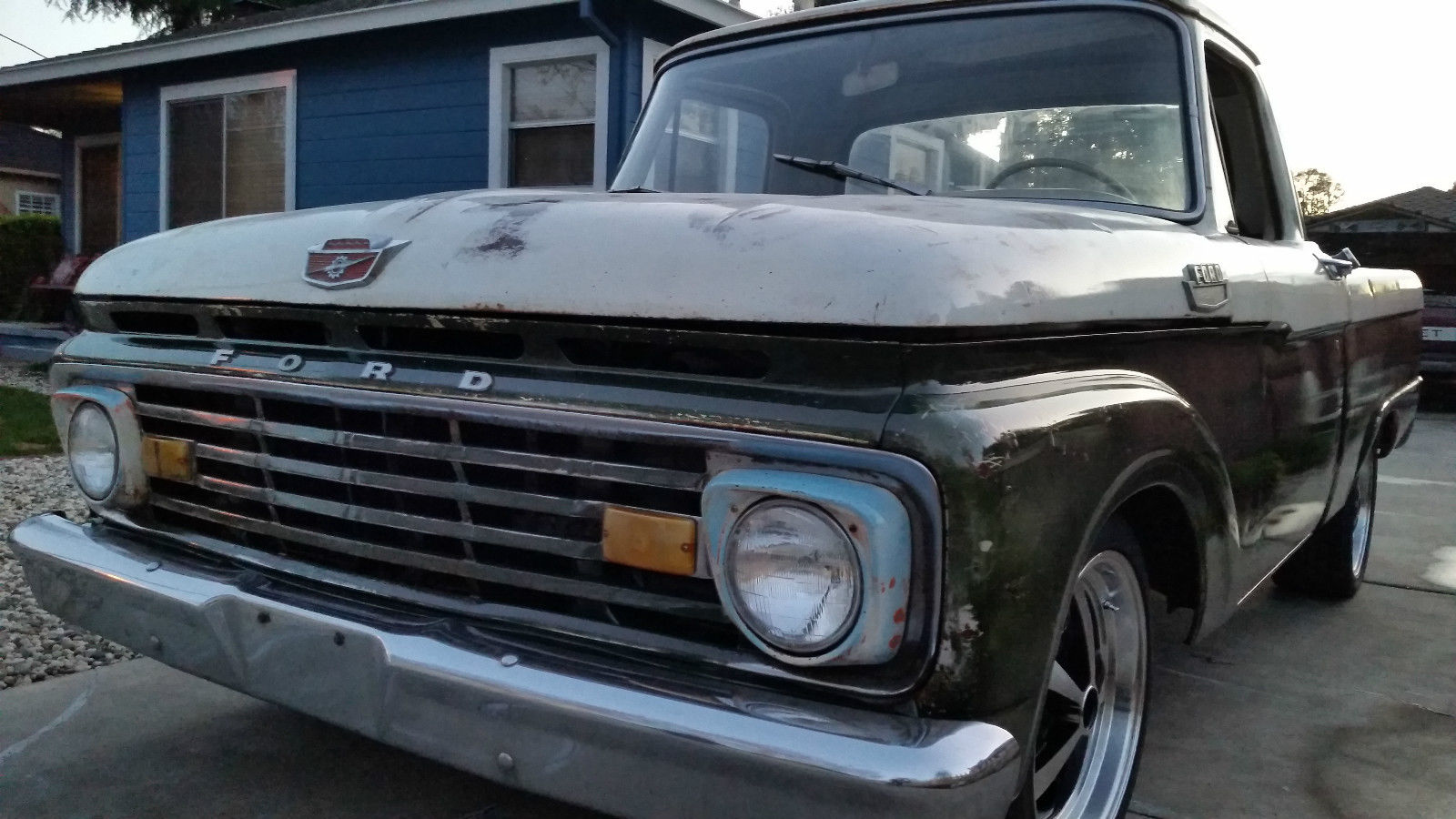 1964 Ford F100 F 100 Custom Cab Patina Shop Truck Fleet Side Short Pickup Prevnext
