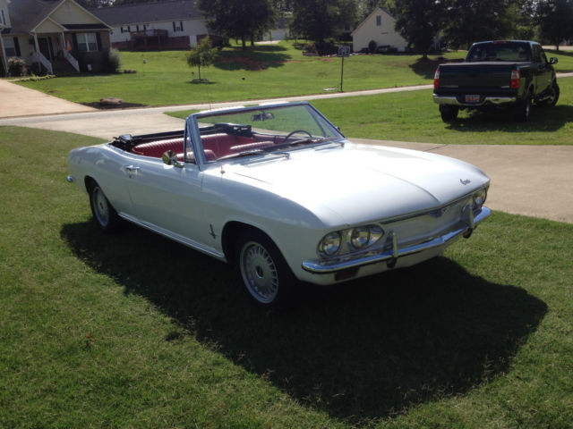 Classic Chevy Corvair Convertible White Black Top Red Interior on Chevy Ignition Coil Wiring
