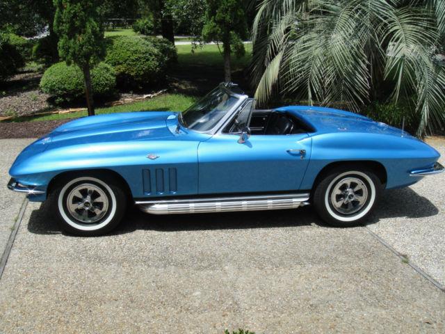 1965 corvette stingray convt 327 350 4 speed nassau blue with white num match classic. Black Bedroom Furniture Sets. Home Design Ideas
