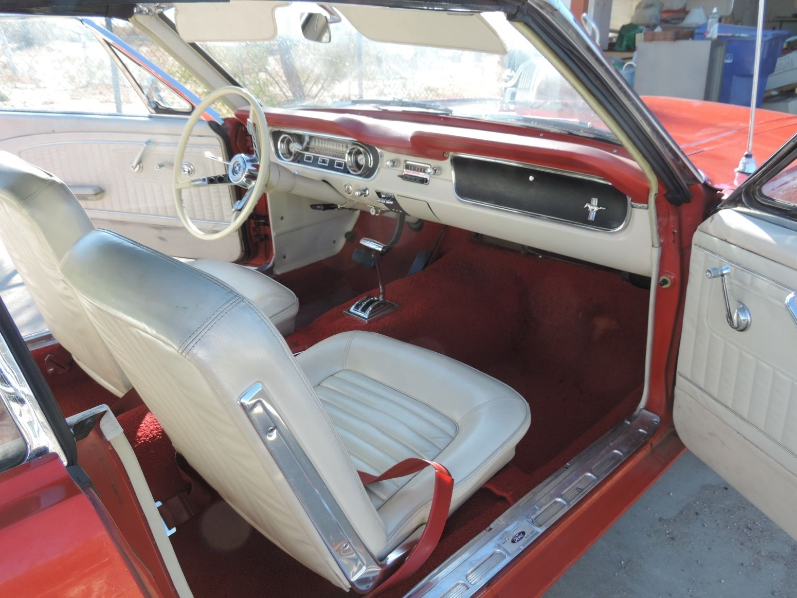 1965 ford mustang convertible red with white interior 51k orig miles califor. Black Bedroom Furniture Sets. Home Design Ideas