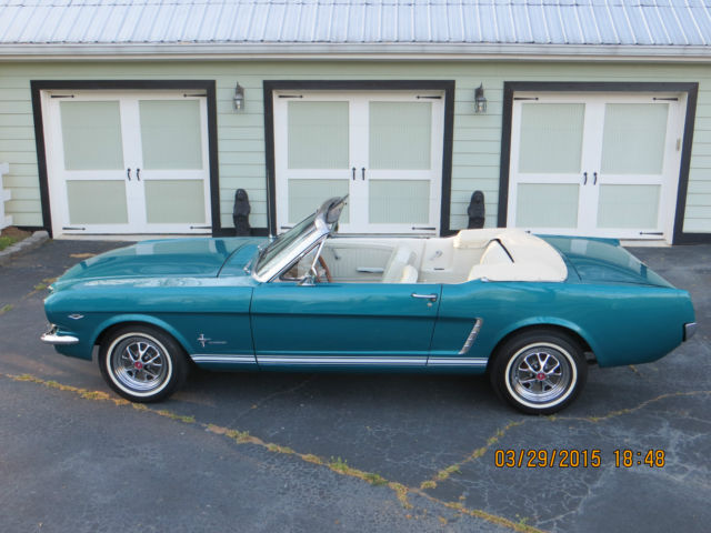 1965 Mustang Convertible Dynasty Green Metallic Beautiful