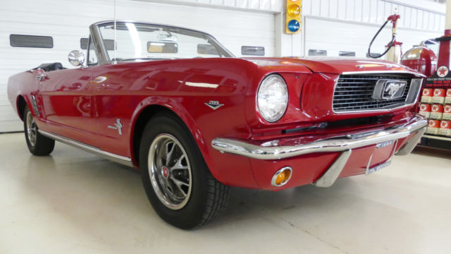 1966 ford mustang 46971 miles red 2 dr convertible 289. Black Bedroom Furniture Sets. Home Design Ideas
