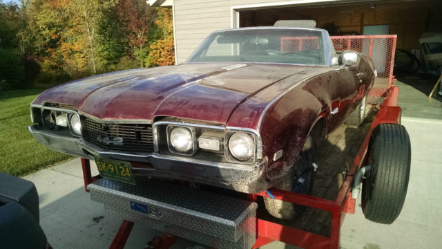 1968 olds 442 convertible project parts car classic oldsmobile 442 1968 for sale. Black Bedroom Furniture Sets. Home Design Ideas