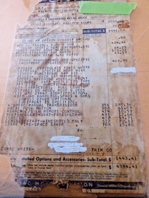 1969 TRANS AM FIREBIRD 4 SPD RAM AIR III PHS WINDOW STICKER LOADS