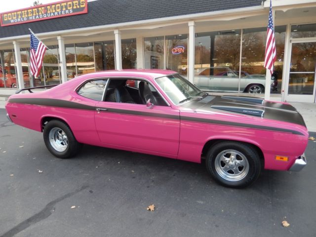 1970 plymouth duster panther pink 340 auto disc brakes buckets mopar