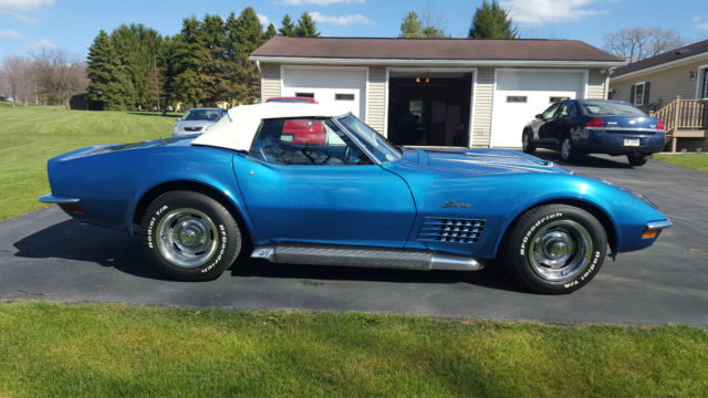 Corvette Convertible Automatic Blueblue White Top Nice Restored Ac