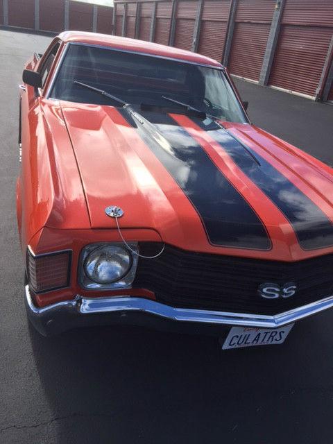 1972 El Camino Orange With Black Stripe Cowl Induction