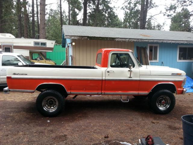 117616 1972 Ford F250 4x4 High Boy Orange And White