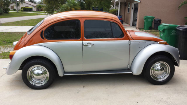 1973 beetle two tone exterior silver and orange with black interior classic volkswagen beetle. Black Bedroom Furniture Sets. Home Design Ideas