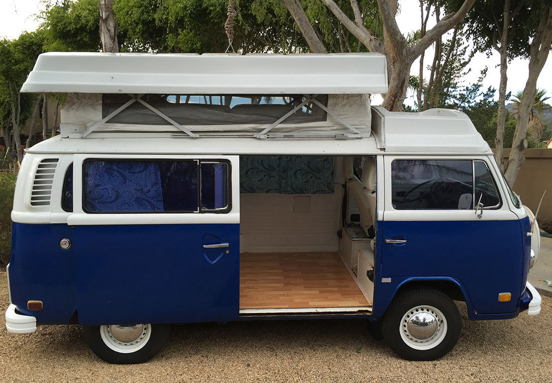 1974 vw bus riviera camper blue white classic. Black Bedroom Furniture Sets. Home Design Ideas