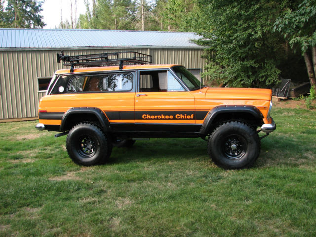 1977 jeep cherokee chief sport wide track 4x4 restored rebuilt lifted wagoneer classic jeep