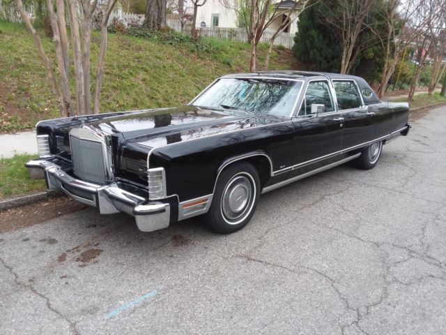 1977 Lincoln Town Car Triple Black Leather Interior Nice Survivor