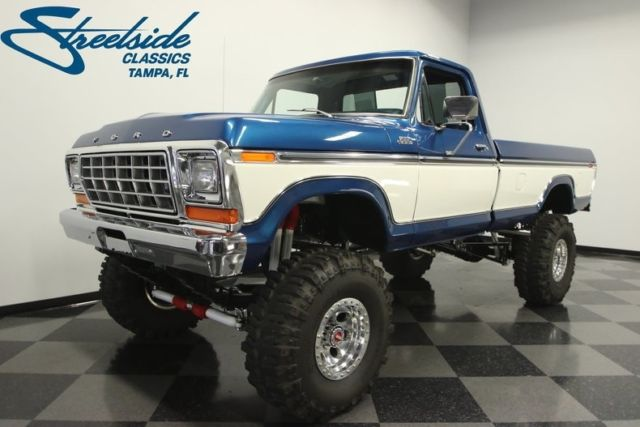 Ford Bronco Tires >> 1978 Ford F-250 Custom 4X4 2584 Miles Bright Dark Blue Pickup Truck 460 V8 4 Spe - Classic Ford ...