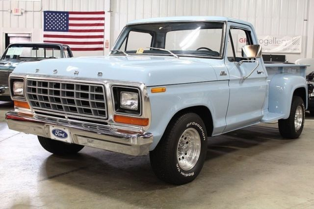 1979 ford f100 12323 miles blue pickup truck 302cid v8 automatic classic ford f 100 1979 for sale. Black Bedroom Furniture Sets. Home Design Ideas
