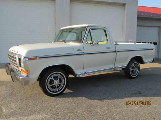 1979 ford ranger f100 xlt white beige 2 895 actual miles classic ford f 100 1979 for sale. Black Bedroom Furniture Sets. Home Design Ideas