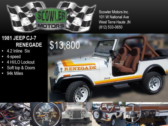 1981 jeep renegade cj 7 straight six classic jeep cj 1981 for sale. Black Bedroom Furniture Sets. Home Design Ideas