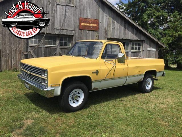 1983 chevrolet 1 ton pickup 68700 miles yellow white. Black Bedroom Furniture Sets. Home Design Ideas