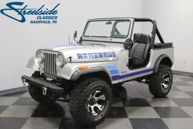 1984 jeep cj7 renegade 86988 miles silver metallic jeep 258 ci inline 6 4 spee classic jeep. Black Bedroom Furniture Sets. Home Design Ideas