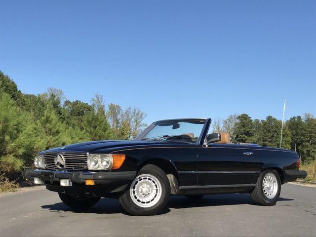 1984 mercedes benz 380 sl convertible black 2 tops clean for Mercedes benz huntersville nc