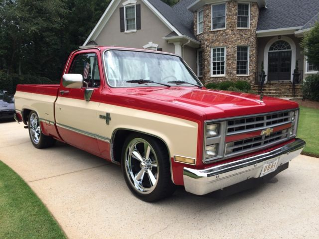 1986 Chevrolet C10 Silverado Rare Candy Red And Doe 2 Tone