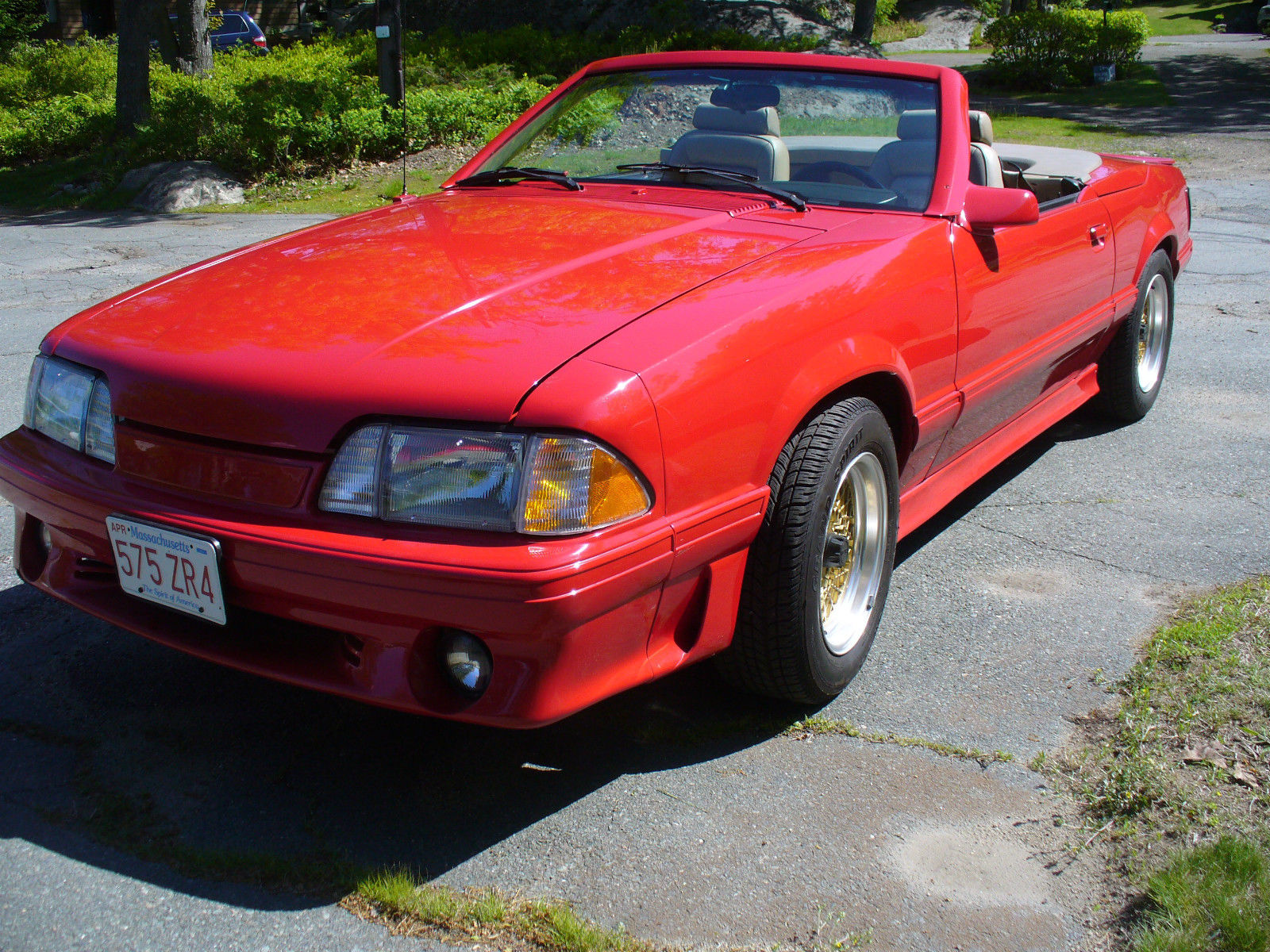 1987 mustang mclaren convertible 456 auto red with beige. Black Bedroom Furniture Sets. Home Design Ideas