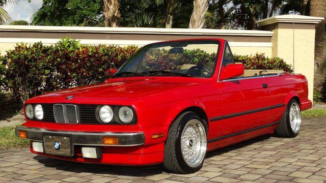 1989 Bmw 325i Convertible Red Tan Interior Black Top Super