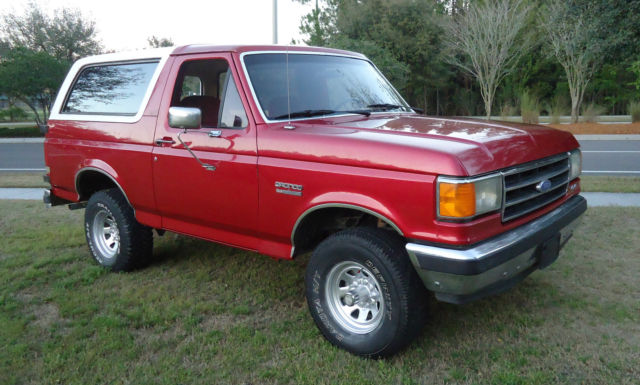 1989 ford bronco xlt 4x4 low miles medium scarlet red cool cloth interior classic ford. Black Bedroom Furniture Sets. Home Design Ideas